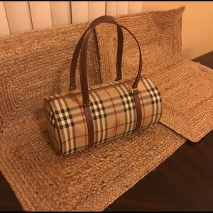 Burberry Check Barrel Tote